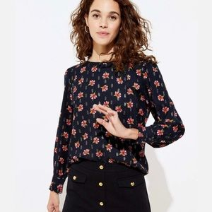 NEW Loft Shimmer Floral Puff Ruffle Sleeve Blouse